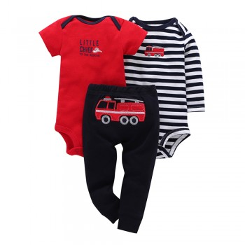 Cool Truck Embroidery & Striped 3-piece Bodysuit with Pants For Baby