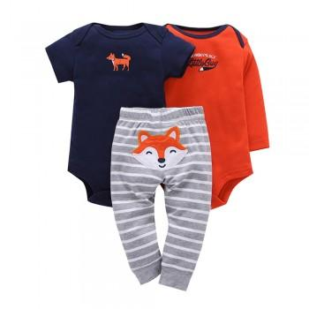 Adorable Fox Print 3-piece Bodysuit with Pants For Baby