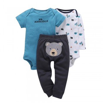 Adorable Bear Print 3-piece Bodysuit With Pants For Baby