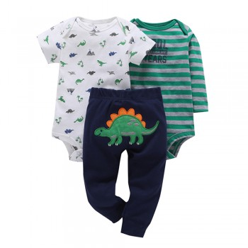 Funny and Cute Dinosaur print & Striped 3-piece Bodysuit with Pants For Baby