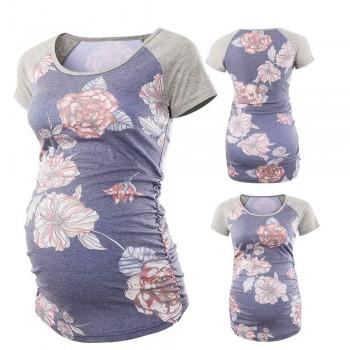 Comfortable Flower Printed Maternity T-shirt