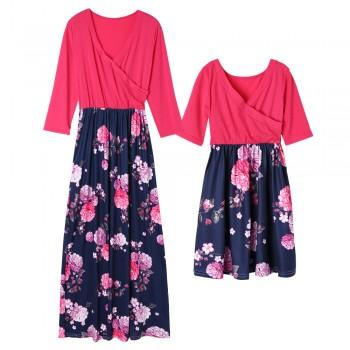Peach Matching Dress with Printed Flower