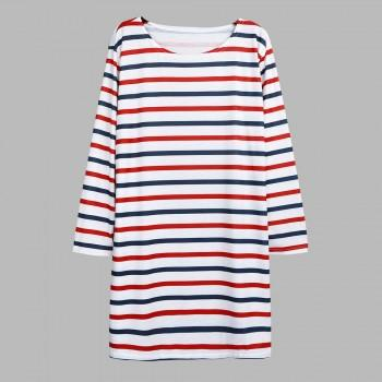 Classic Color Stripe Long Sleeve Maternity T-shirt