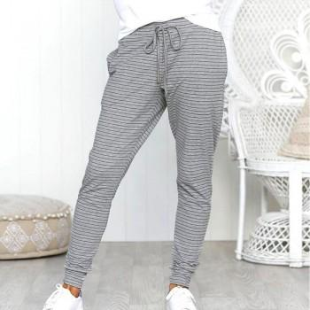 Casual Sporty Tie Striped Elasticized Cuff Pants For women