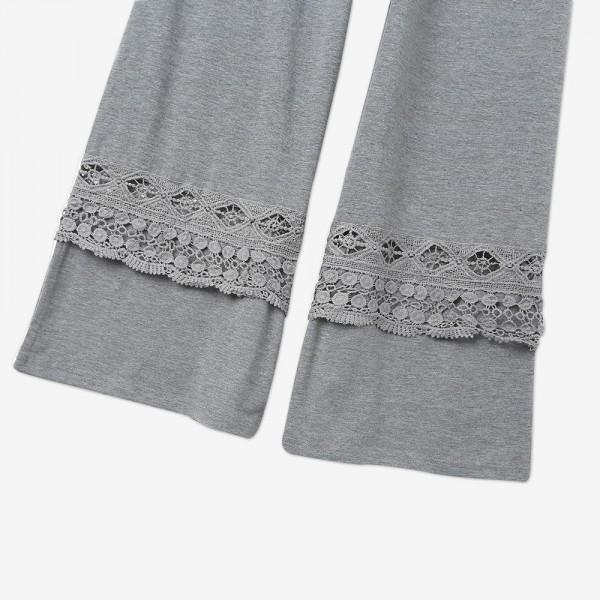 Trendy Solid Lace Splice Loose Yoga pants