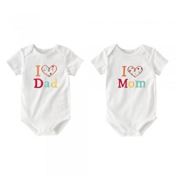2-piece I Heart Mom Dad Embroidered White Short Sleeve Bodysuits Set for Babies