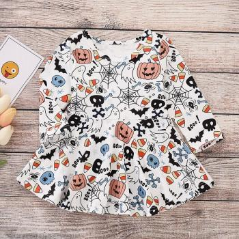 Latest Ghost Pumpkin Pattern Long-sleeve Halloween Dress