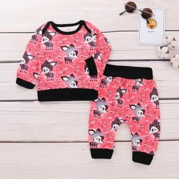 2-piece Adorable Deer Print Long-sleeve Top and Pants Set for Baby Girls