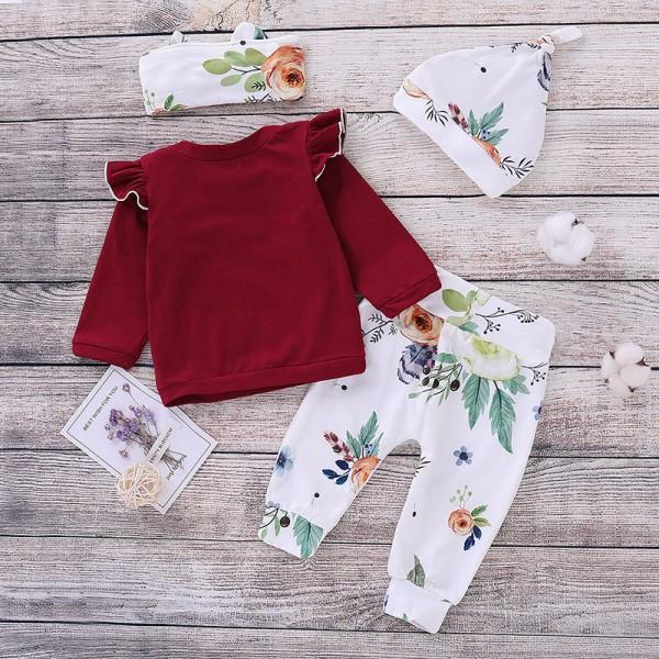 4-piece Autumn Ruffled Long-sleeve Top Floral Pants Hat and Headband Outfits Set
