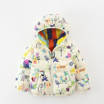 Allover Print Down Coat