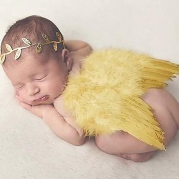 Newborn Baby Angel Wings and Leaves Headband Set