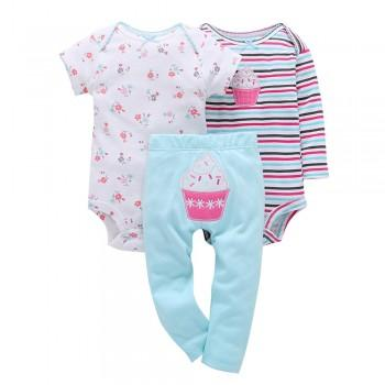 Comfy 3- Cupcake Embroidery Short-sleeve & Long-sleeve Bodysuit For Baby