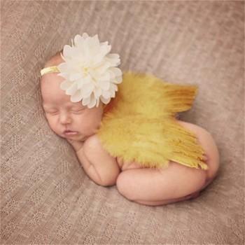 Newborn Baby Golden Angel Wings Set
