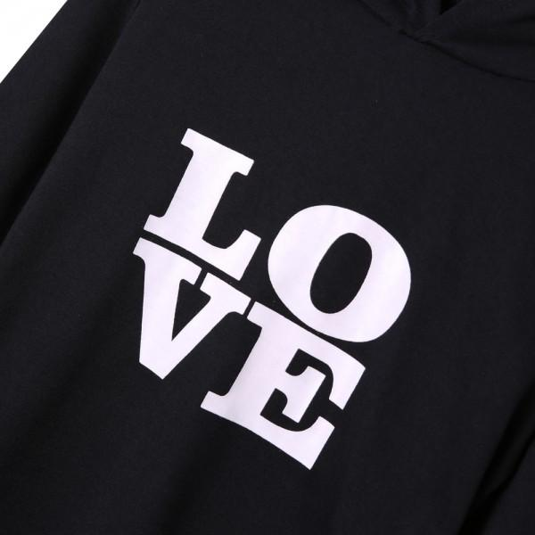 Love Black Hoodie Matching Dress