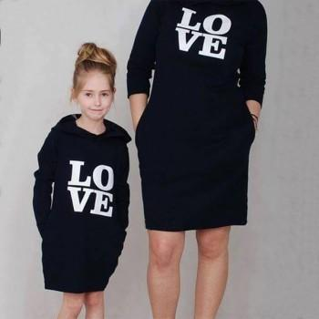 Love Black Hoodie Matching Dress