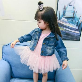 Elegant Long Sleeves Tulle Dress and Denim Coat Set