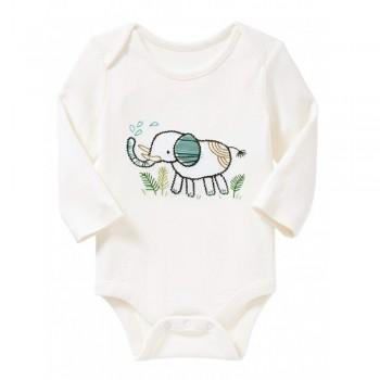 Adorable Elephant Embroidered Autumn Long Sleeves Cotton Baby Bodysuit