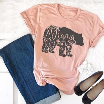 Funny Bear Print Basic Short-sleeve T-shirt For women