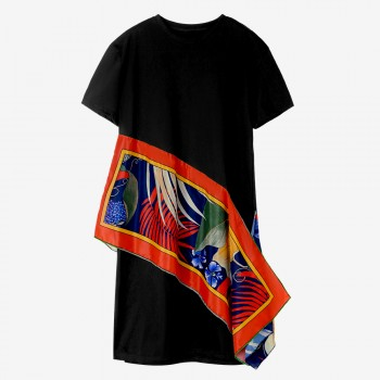 Asymmetrical Printed Maternity Dress