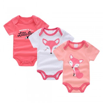 3-piece New Arrival Animal Pattern Bodysuit with Short-sleeve For Baby Boy & Girl