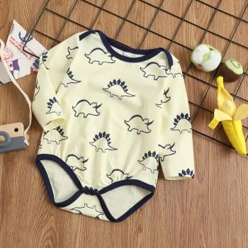 Latest Allover Dinosaur and Rhinoceros Print Long-sleeve Bodysuit For Baby