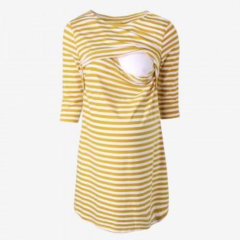 Cross Stripe Maternity Sleep Dress