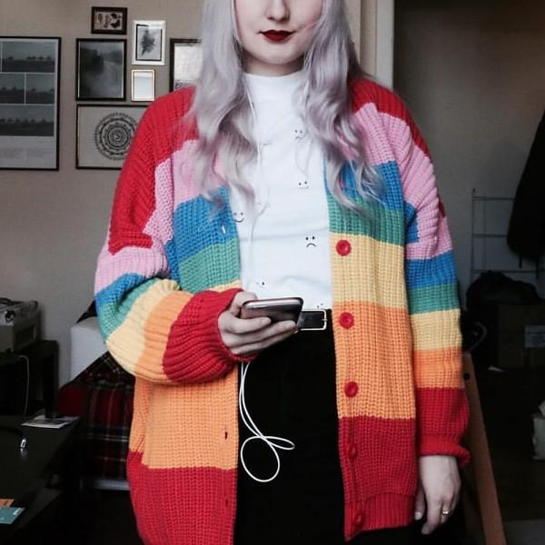 Fresh Oversize Style Color block Rainbow Print Splice Knitted Cardigan  For women