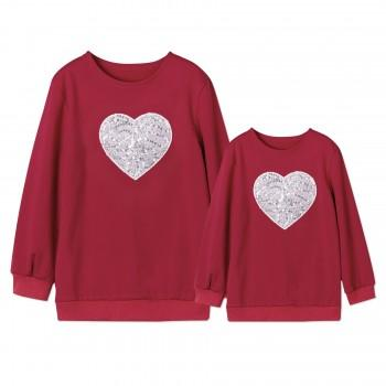 Sequin Heart Matching Long sleeve Pullover