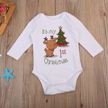 Fresh Lovely Christmas Reindeer and Letter Print Long-sleeve Bodysuit For Baby