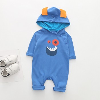 Blue Monster Hooded Jumpsuit