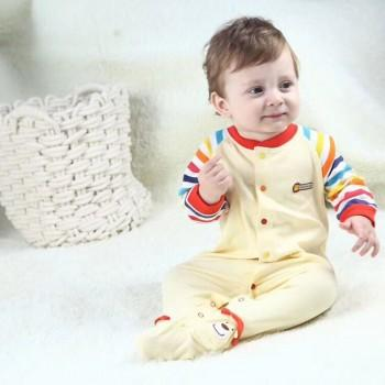 Cuddly Colorful Lion Print Striped Cotton Jumpsuit For Baby