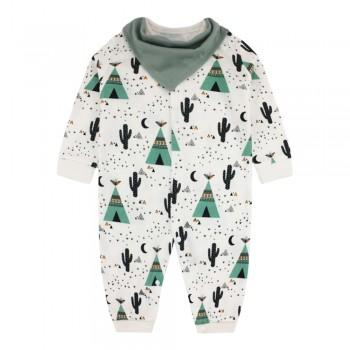 Fresh Autumn Cactus Print Cotton Jumpsuit with Bib For Baby