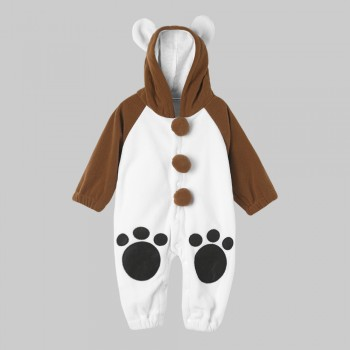 Fresh Autumn Adorable Bear Print Thicken Jumpsuit For Baby