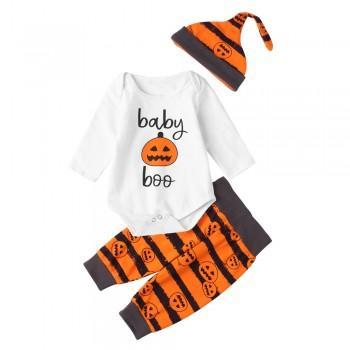3-piece Funny Halloween Lantern Print Cotton Bodysuit For Baby