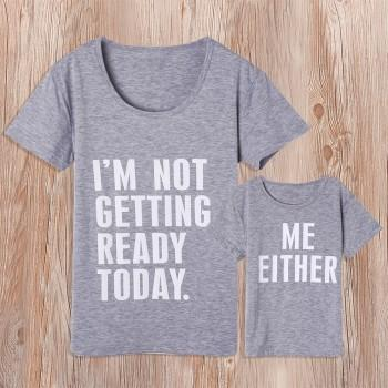 Simple Letter Print Matching T-shirt