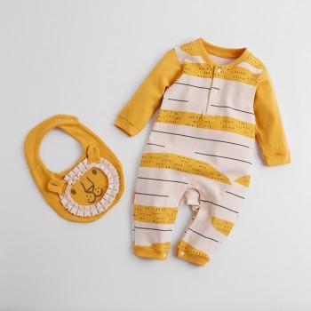Trendy Lion Pattern Long Sleeves Jumpsuit with Bib
