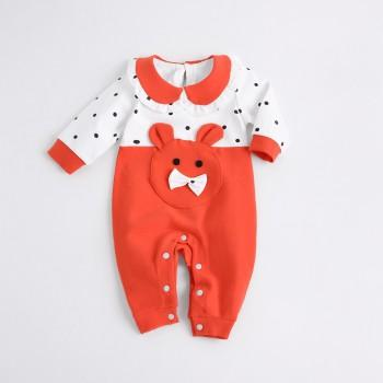 Cute Polka Dots Peter Pan Collar Long Sleeves Jumpsuit for Baby Girls