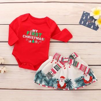 2 pcs my first christmas romper bowknot skirt and headband christmas outfit