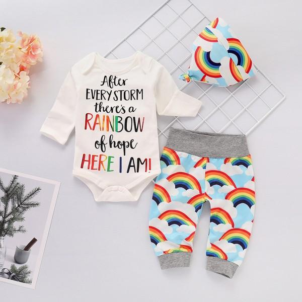 Cheerful Letter and Rainbow Print Outfit