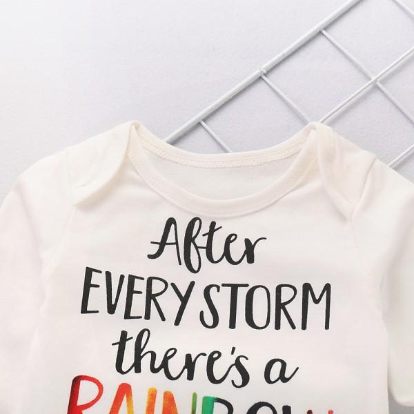 Cheerful Letter Print White Long-sleeve Bodysuit Rainbow Pattern Pants and Hat Outfits Set