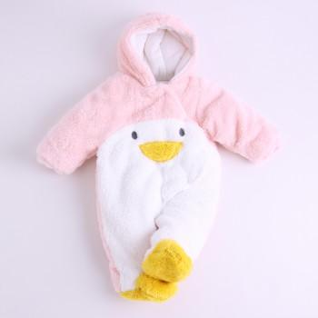 Thick Fuzzy Lovely Animal Design Hooded Jumpsuit For Baby