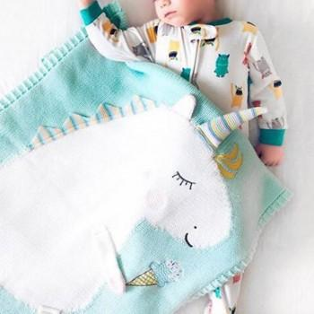 1 Pc Knit Unicorn Blanket 105cm*75cm
