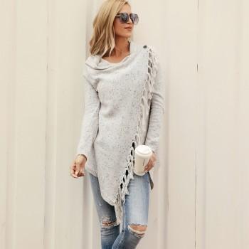 Sassy Crossover Heap Collar Knitted Long-sleeve Cardigan with Tassel Decor For Women