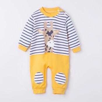 Fresh Cuddly Deer Print Striped Applique Decor Cotton Jumpsuit For Baby