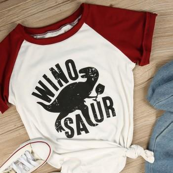 Comfy Round-collar Color block Short-sleeve Tee with Dinosaur Print For women