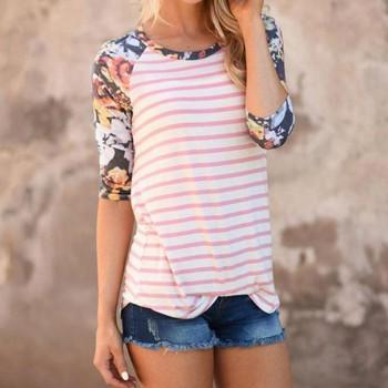 Spring Summer Casual Round-collar Three Quarter Sleeve Printed Tee For women