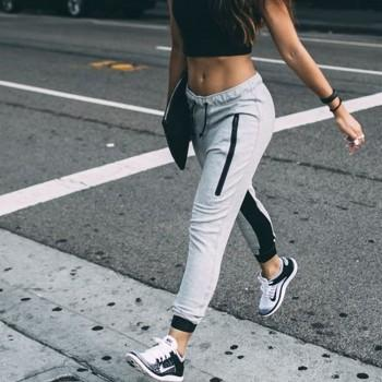 Fashionable Zip Decor Casual Sporty style Drawstring Sweatpants For women