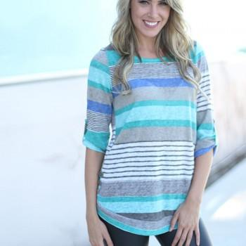 Casual Striped Long-sleeve Loose T-shirt with Button Decor For women