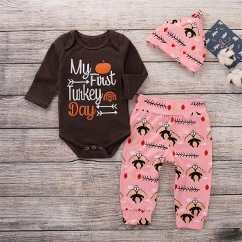 Baby's My First Turkey Day Long-sleeve Romper Turkey Print Pants and Hat Thanksgiving Outfits