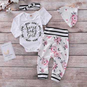 Baby Girl's Letter Print Long-sleeve Romper Floral Pants Hat and Striped Headband Outfits Set